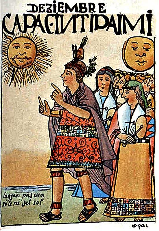 """El cronista español Juan Polo de Ondegardo escribió que los sacerdotes incas de Cuzco podían volar sobre la copa de los árboles. En la imagen, ilustración del Inti Raimi, el festival del solsticio de invierno y el nacimiento del año, aparecida en el libro """"Nueva crónica y buen gobierno"""" (1615) de Guamán Poma De Ayala."""
