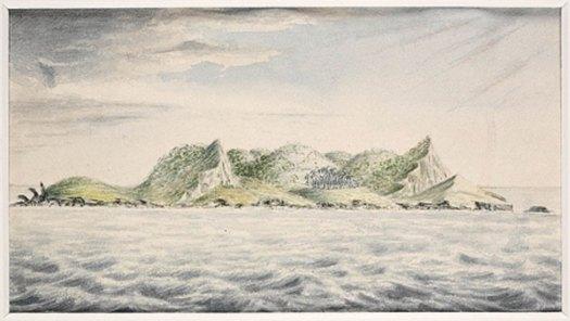 Vista de la isla de Pitcairn, mares del Sur, 1814, J. Shillibeer, Biblioteca del Estado de Nueva Gales del Sur. (Dominio público)
