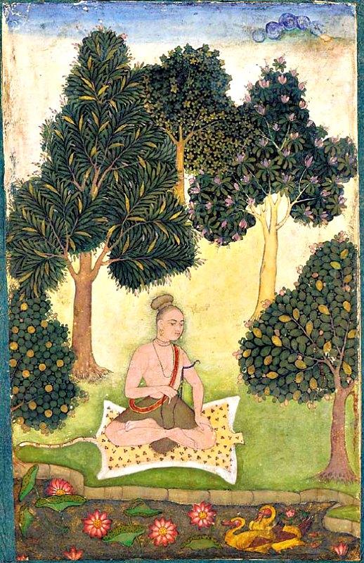 Los yoguis de la India son otro tipo de personas a quienes se atribuyen actos de levitación. En la imagen, joven yogui sentado sobre una piel de leopardo. (Public Domain)