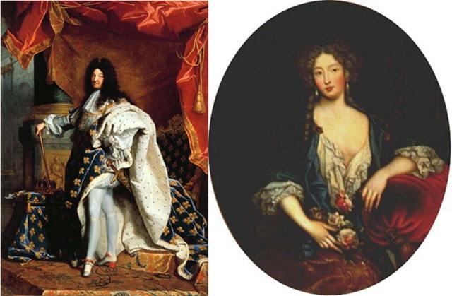 Retratos de Luis XIV, obra de Hyainthe Rigaud (1701) (Public Domain) y Marie Angélique de Scorailles, Duquesa de Fontanges (fecha desconocida). (Public Domain)