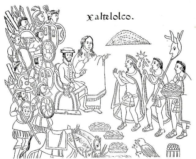 La Malinche traduce la lengua de los mexicas a Cortés. Lienzo Tlaxcala (Siglo XVI) (Public Domain)