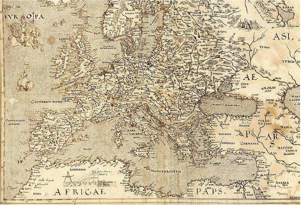 Mapa de Europa de 1570 en el que Hy-Brasil aparece situada en otro lugar ( ver justo a los pies del animal que cabalga 'Europa,' arriba a la izquierda) (Wikimedia Commons)