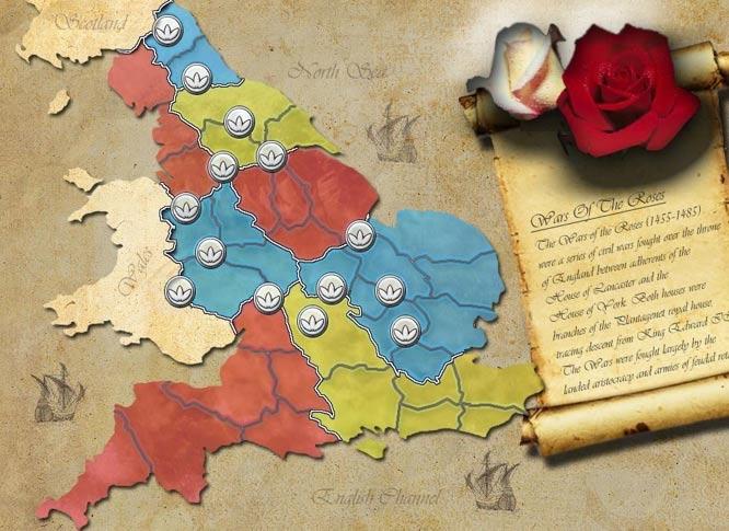Mapa de la Guerra de las dos Rosas (Sillysoft.net)
