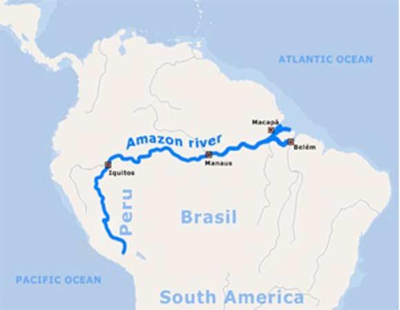 Mapa del río Amazonas (Imagen)
