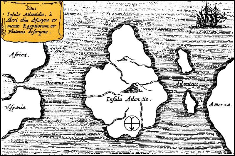 Mapa (circa 1669) del estudioso y científico alemán Athanasius Kircher (1602-1680) en el que se observa una de las supuestas ubicaciones de la Atlántida. (Public Domain)