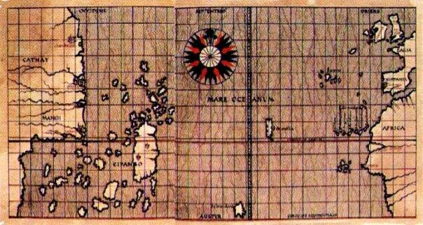 Mapa de Toscanelli del año 1463 con la situación de Cipango, territorio que, históricamente, siempre se ha relacionado con Japón. (Public Domain)