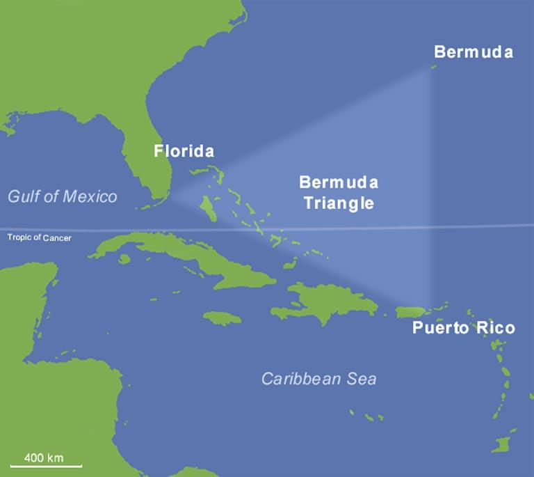 Mapa del Triángulo de las Bermudas. (Public Domain)