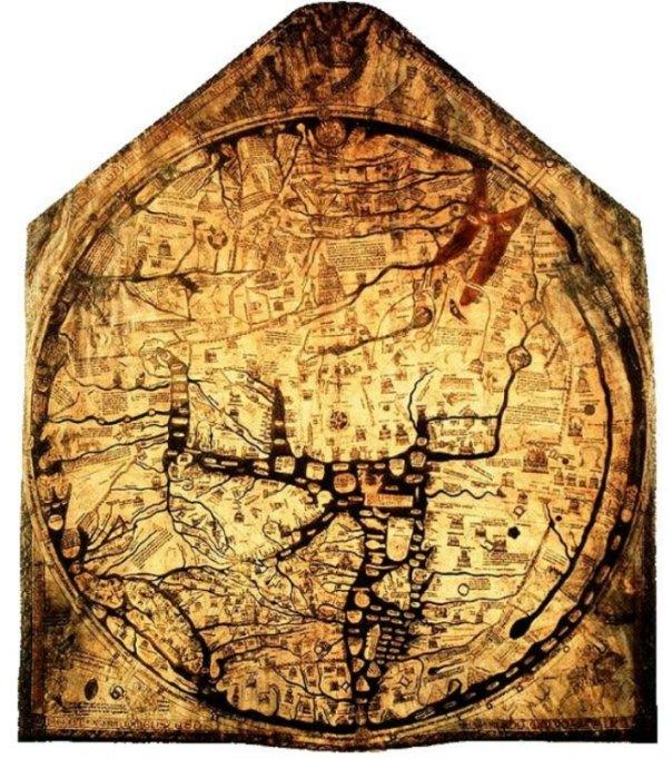 Mapamundi de Hereford, c. 1300, Catedral de Hereford, Inglaterra. Clásico mapa T-O. (Public Domain)