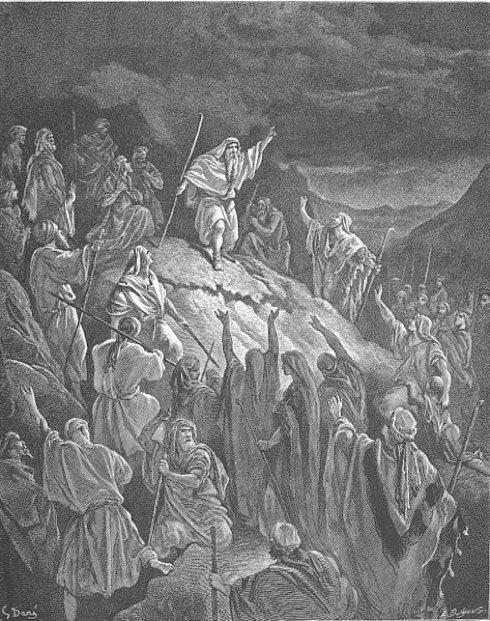 Matatías enardece los ánimos de los refugiados judíos con su discurso. (I Macabeos 2,42-70) (Dominio público)