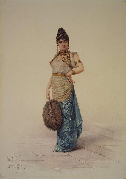 'Mujer del harén con un abanico de avestruz' (1892), acuarela de Louis-Robert de Cuvillon. (Public Domain)