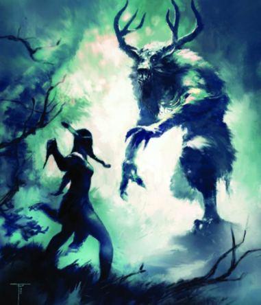 Nativa americana luchando con un Wendigo. (Frank Victoria / cupick.com)