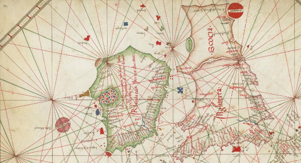 La Carta Náutica de Europa Occidental, de 1473, muestra a Hy-Brasil con forma circular (British Library)