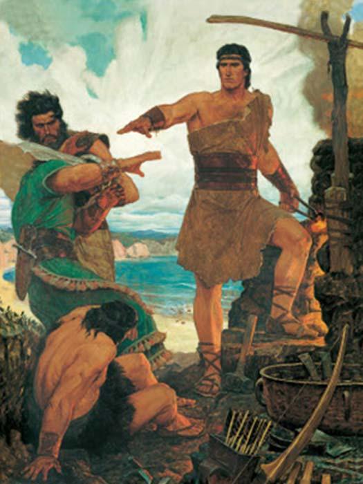 'Nefi somete a sus hermanos mayores rebeldes' (los seguidores de Nefi eran los nefitas, los seguidores de sus hermanos Lamán y Lemuel eran los lamanitas). (MormonWiki)