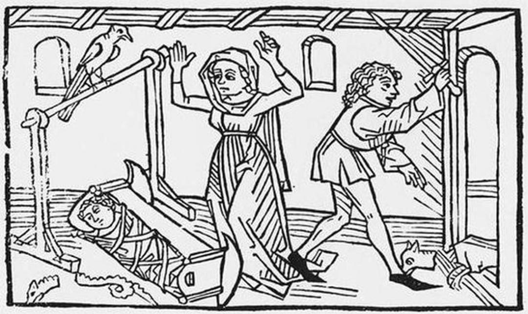 La serpiente yace hecha pedazos junto a la cuna del niño mientras el padre del pequeño decapita a Guinefort. (Public Domain)