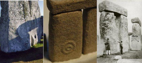 Piedra 52 con el símbolo del 'Ojo'. De izquierda a derecha: La Piedra 52 en la actualidad (fotografía: Lloyd Matthews), réplica de la Piedra 52 (fotografía: Lloyd Matthews), Piedra 52 en 1867.