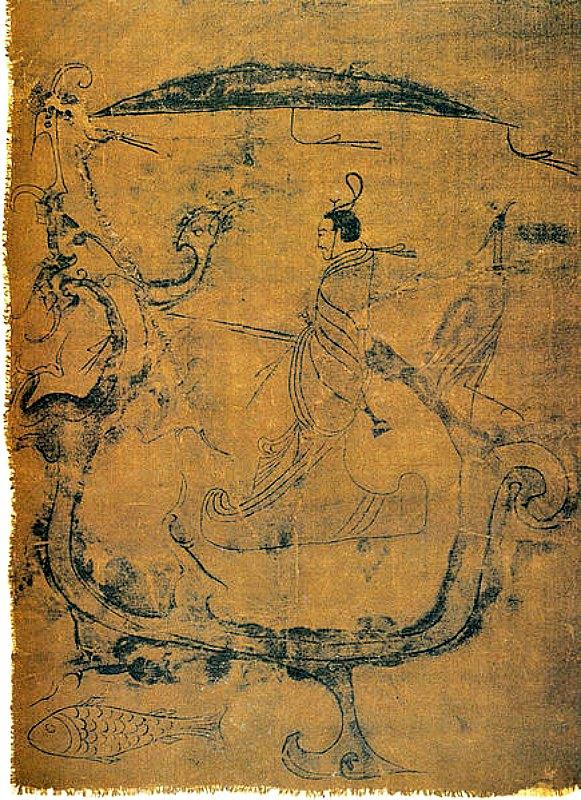 Pintura sobre seda datada en el siglo V a. C. (período de los Reinos Combatientes) en la que un hombre (un mago) le pide a un dragón que vuele hasta el cielo, garantizando de este modo la paz durante un año. Museo Provincial de Hunan en Changsha. (Public Domain)