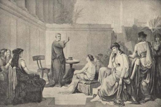 Ilustración en la que se observa a Pitágoras instruyendo a un grupo de mujeres. (Public Domain)