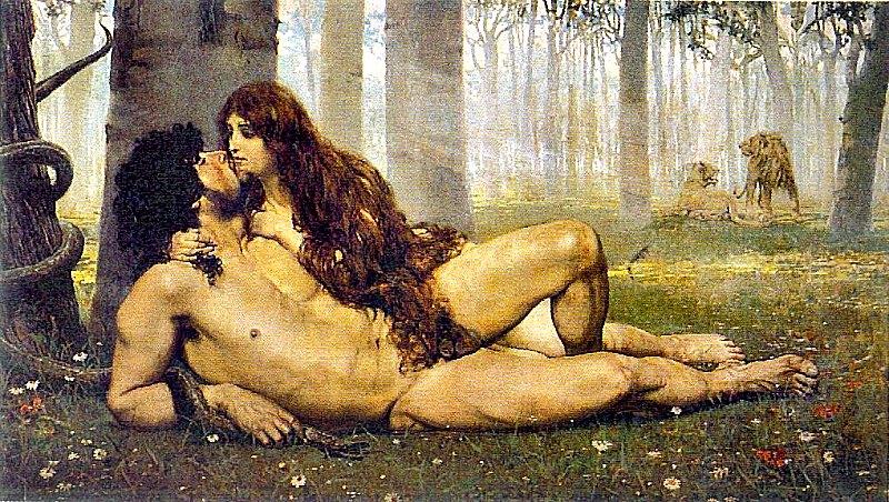 El primer beso (1891, obra del pintor Salvador Viniegra, también conocida como Adán y Eva. (Public Domain)