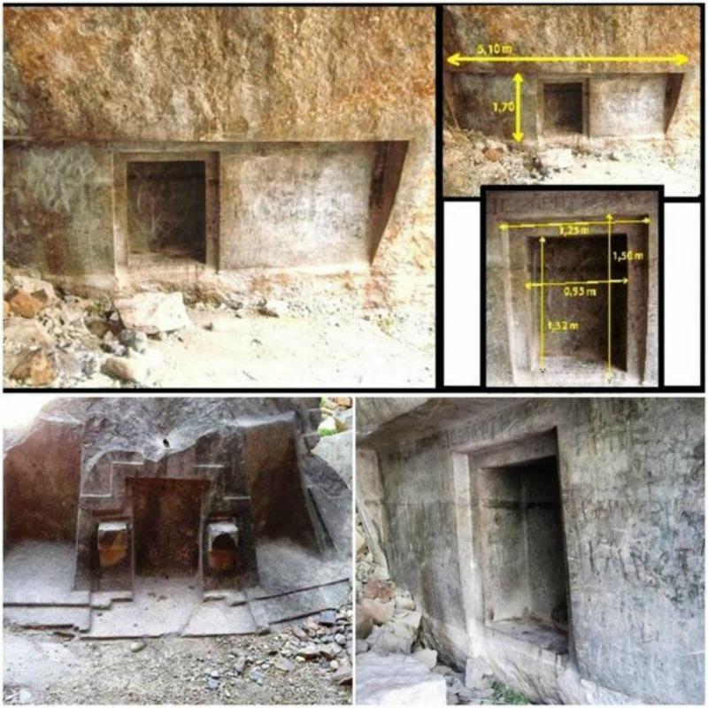La enigmática puerta falsa parece haber sido esculpida en tres niveles diferentes, y el altar basáltico a su izquierda presenta tres ventanas exquisitamente talladas. (Fotografías: Código Oculto)