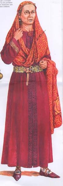 Recreación artística de la reina Arnegunda vestida tal y como fue enterrada. (Siglindesarts's Blog)