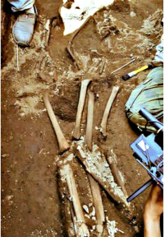 Algunos de los huesos recuperados en el yacimiento de Ticuantepe, Nicaragua. (Fotografía: Canal 4)