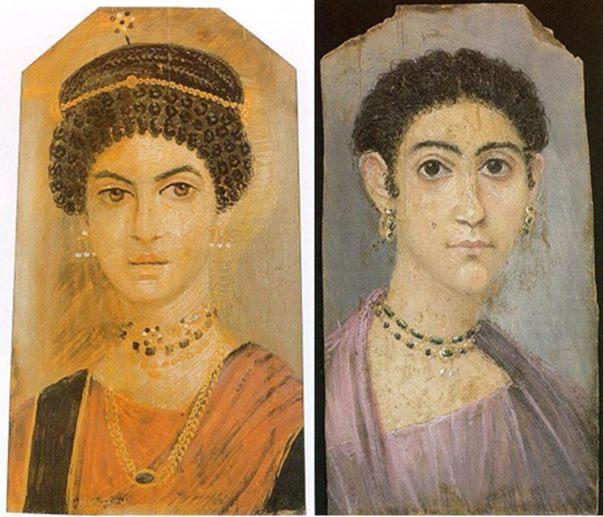 Retratos de momias de Fayum de dos mujeres. (Izquierda: Public Domain. Derecha: Public Domain)