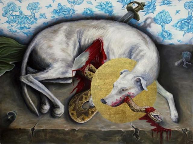 San Guinefort moribundo tras haber dado muerte a la serpiente. (4.bp.blogspot)