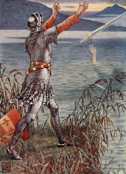 Sir Bedevere arroja la espada Excálibur al lago, ilustración del artista inglés del siglo XIX Walter Crane. (Public Domain)