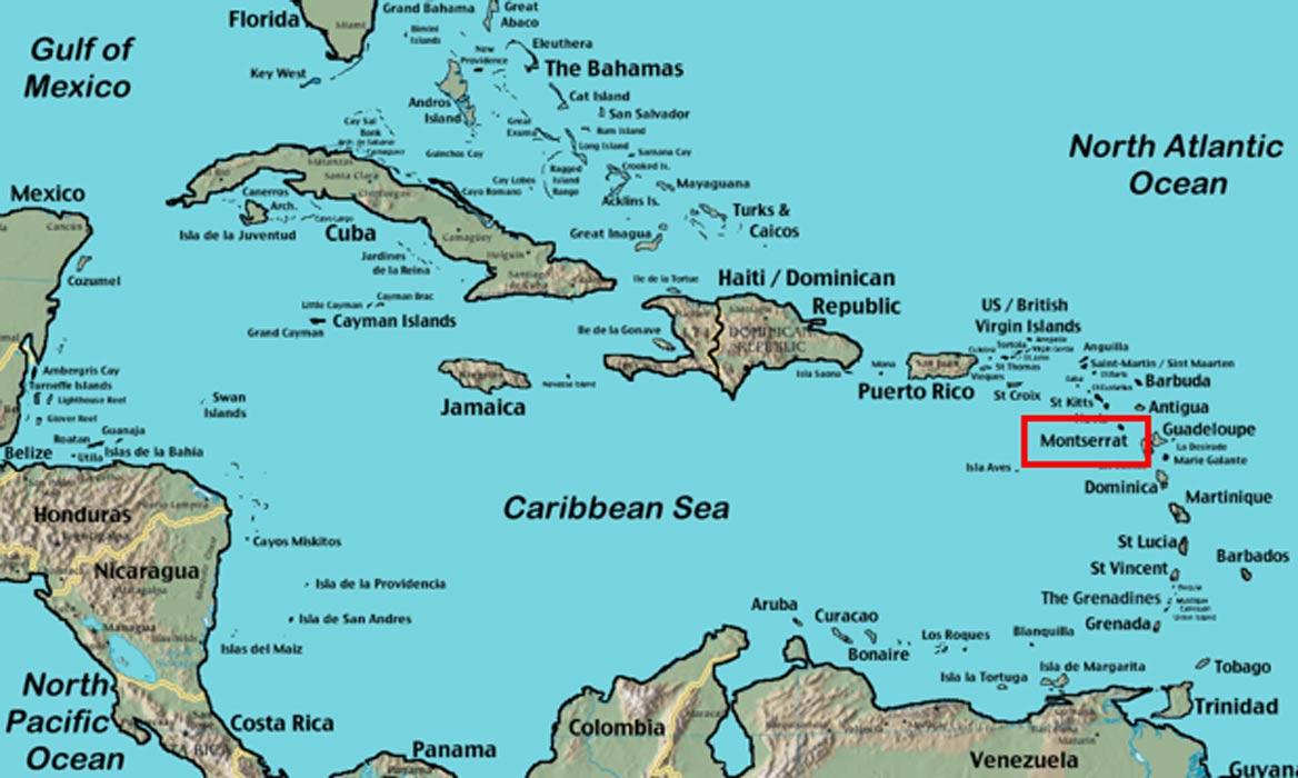 Situación geográfica de la isla de Montserrat, una de las Pequeñas Antillas (Public Domain)