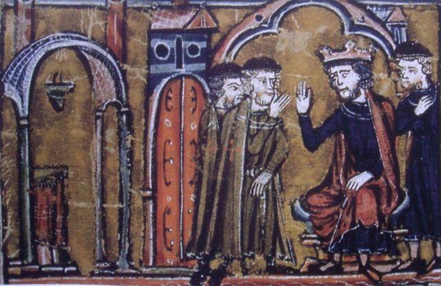 """Balduino II de Jerusalén cede el Templo de Salomón a los caballeros Templarios Hugo de Payens y Godofredo de Saint-Omer en presencia del Patriarca de Jerusalén. Ilustración del siglo XIII perteneciente a la crónica """"Histoire d´Outre-Mer"""" del historiador Guillermo de Tiro. (Wikimedia Commons)."""