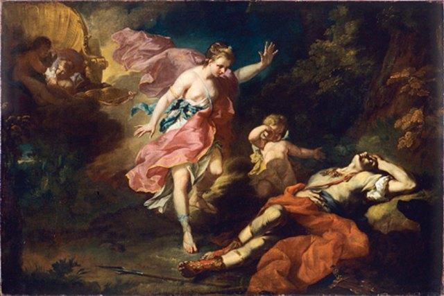'Vénus pleurant la mort d'Adonis' (Venus llora la muerte de Adonis) (1753) óleo de Jean-Faur Courrège. (Dominio público)