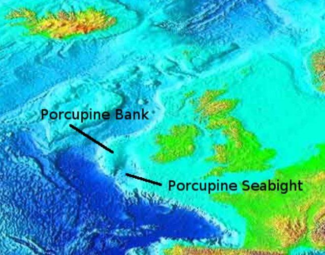 El banco y la cuenca de Porcupine, batimetría del Nordeste del Atlántico (Wikimedia Commons)