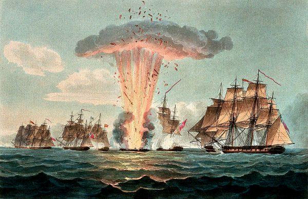Ilustración de 1804 reflejando el momento en que es alcanzada la santabárbara y se produce la explosión de la fragata Nuestra Señora de las Mercedes.(Wikimedia Commons)