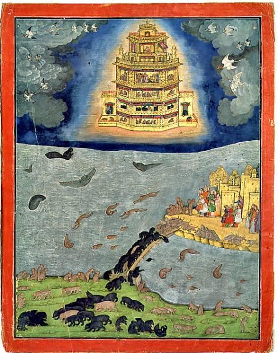 El resplandeciente Pushpaka Vimana, principal vimana del Ramayana, surcando los cielos por encima del Océano Índico. A la derecha se puede observar la isla de Lanka, hoy Sri Lanka, unida por un puente al subcontinente Indio (abajo) (Wikimedia Commons)