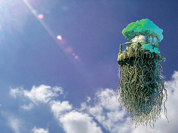 """Recreación artística de la isla voladora de """"Laputa"""" aparecida en """"Los Viajes de Gulliver"""": un moderno Vimana. (Flickr)"""