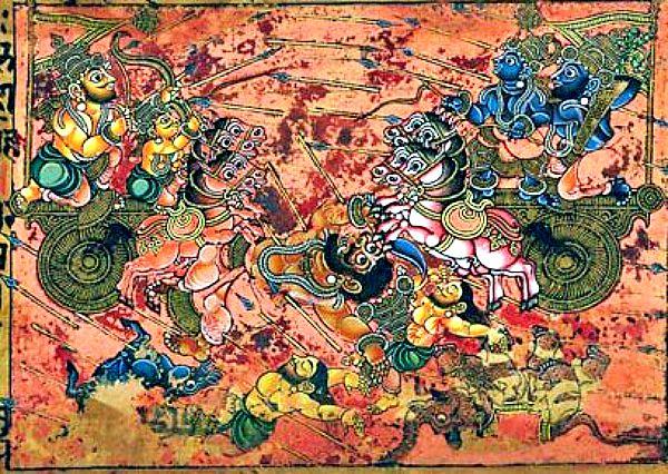 Escena del Mahabharata en la que Karna (a la izquierda), maestro en el empleo de los astras mata a Ghatotkacha utilizando el Shakti, un tipo de astra. (Wikimedia Commons)