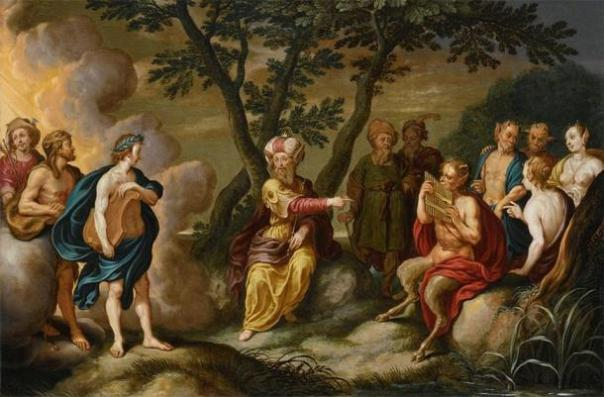 """""""Apolo y el rey Midas"""" (c. 1634) de Simon Floquet. (Dominio publico)"""