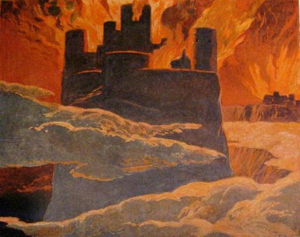 """Una escena de la última fase de Ragnarök, después de que Surtr ha envuelto al mundo con fuego, """"el fin del mundo"""". (Emil Doepler / Dominio público)"""