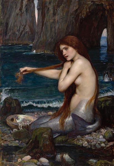 'A Mermaid' (1900) by John Williams Waterhouse. Royal Academy of Arts. (Public Domain)