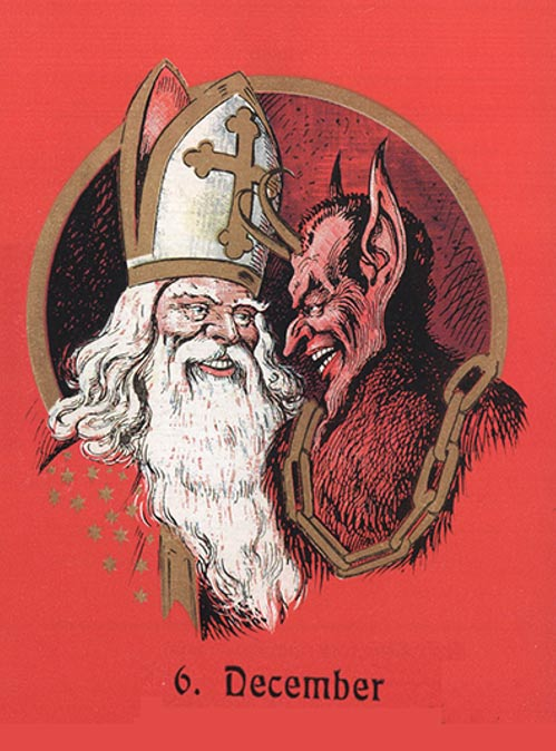 A greeting card depicting Saint Nikolaus and Krampus in Austria.