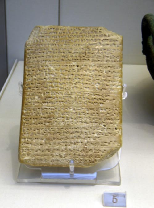 Una de las Cartas de Amarna. En la exhibición en el Museo Británico.