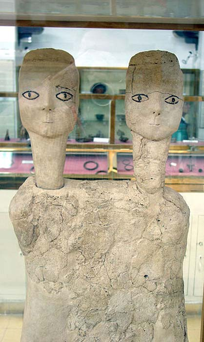 Androgynous two-headed statues from Ain Ghazal.