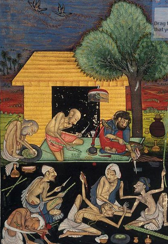 Ascetics preparing and smoking opium outside a rural dwelling in India. Gouache painting by a follower of Chokha, ca. 1810.