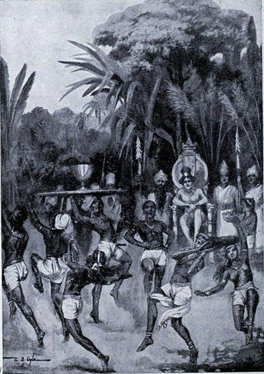l'inviato di Ashoka dichiara la pace. Illustrazione dalla storia di Hutchinson delle Nazioni.