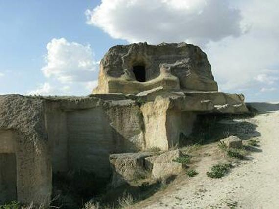 Cavusin pueblo en la región de Capadocia de Turquía.