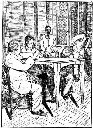 """Cesare Lombroso et Charles Richet """"contrôlent"""" tandis que Palladino fait léviter le tableau, Milan, 1892."""