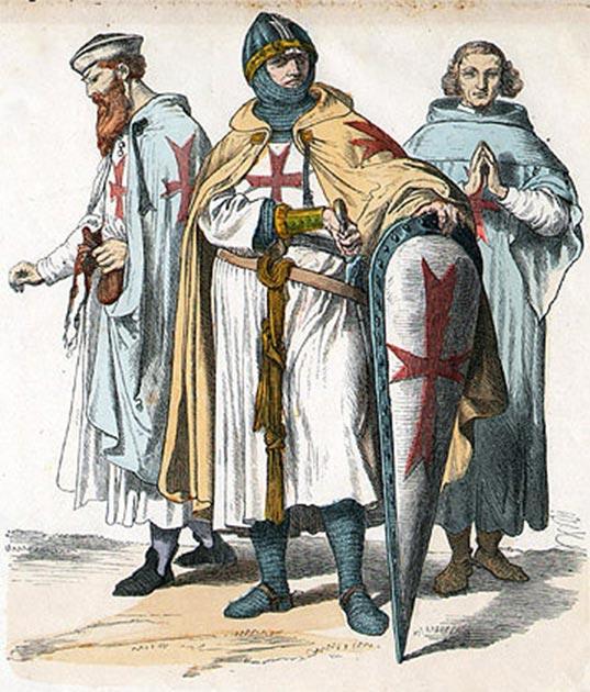 Représentation de trois chevaliers allemands templiers.  (Auteur inconnu / Domaine public)