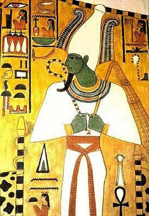 Egyptian God Osiris featured in a frieze on a wall of tomb QV66, the burial place of Nefertari (c. 1295-1255 BC)