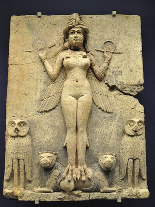 Burney Relief, Babylon (1800-1750 BCE). Some scholars (e.g. Emil Kraeling) identified the figure in the relief with Lilith, based on a misreading of an outdated translation of the Epic of Gilgamesh.