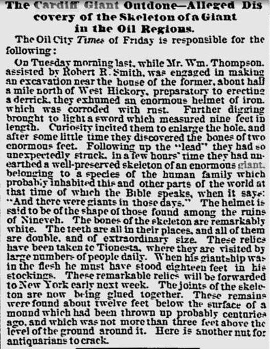 Figura 16: El informe de 1870 que describe un esqueleto gigante de 18 pies de altura.